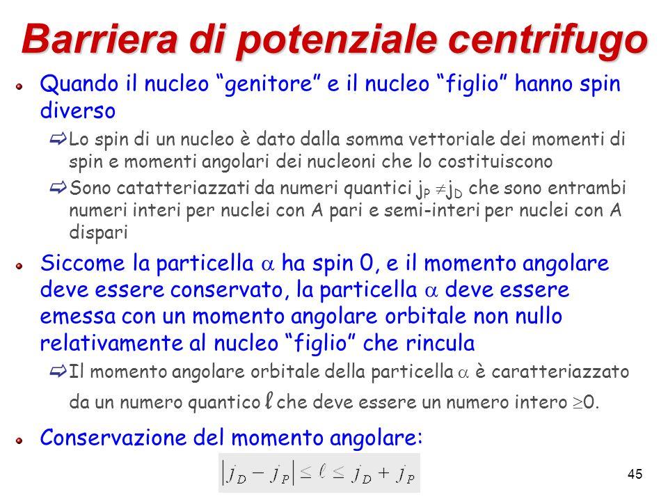 45 Barriera di potenziale centrifugo Quando il nucleo genitore e il nucleo figlio hanno spin diverso Lo spin di un nucleo è dato dalla somma vettorial