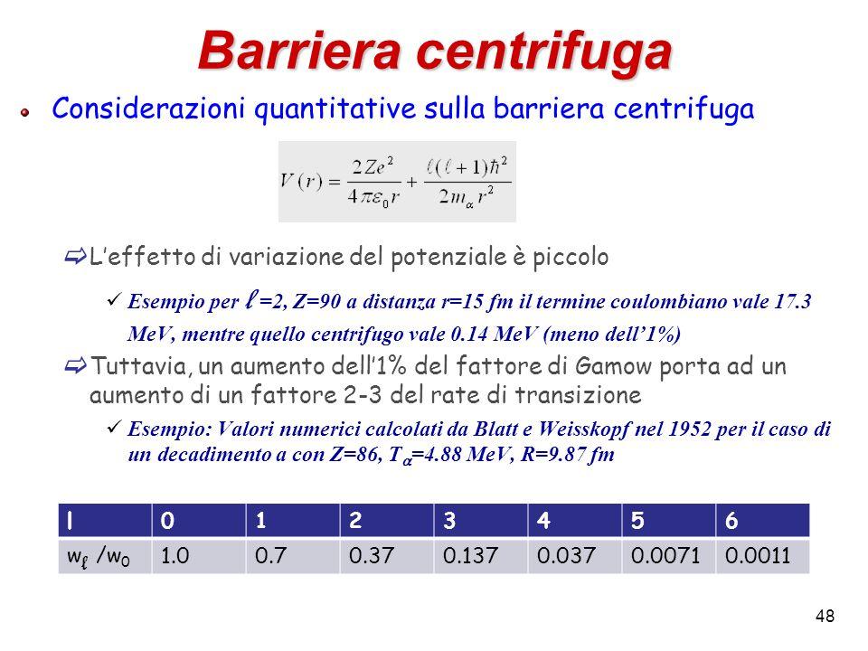 48 Barriera centrifuga Considerazioni quantitative sulla barriera centrifuga Leffetto di variazione del potenziale è piccolo Esempio per l =2, Z=90 a