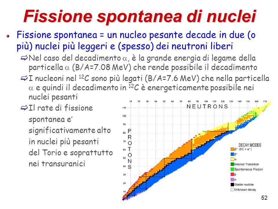 Fissione spontanea = un nucleo pesante decade in due (o più) nuclei più leggeri e (spesso) dei neutroni liberi Nel caso del decadimento, è la grande e