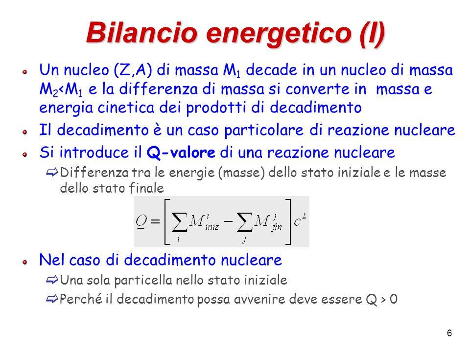 6 Bilancio energetico (I) Un nucleo (Z,A) di massa M 1 decade in un nucleo di massa M 2 <M 1 e la differenza di massa si converte in massa e energia c