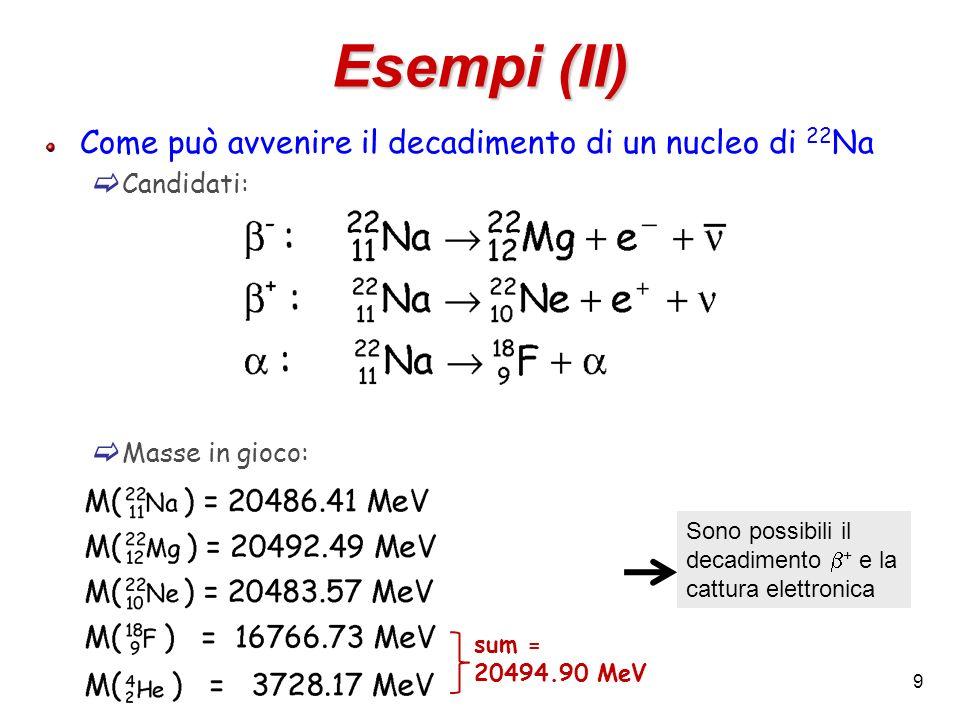 9 Esempi (II) Come può avvenire il decadimento di un nucleo di 22 Na Candidati: Masse in gioco: Sono possibili il decadimento + e la cattura elettroni