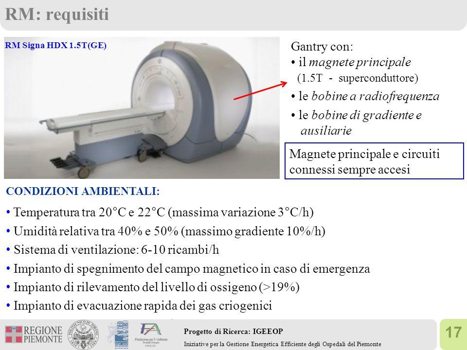 17 Progetto di Ricerca: IGEEOP Iniziative per la Gestione Energetica Efficiente degli Ospedali del Piemonte RM: requisiti RM Signa HDX 1.5T(GE) CONDIZ