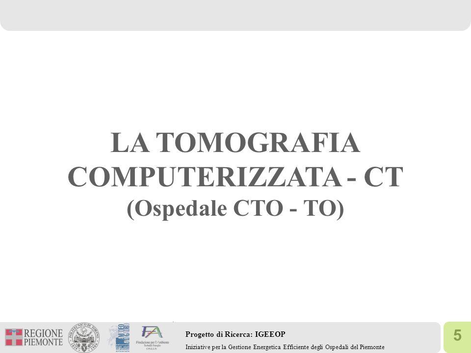 5 Progetto di Ricerca: IGEEOP Iniziative per la Gestione Energetica Efficiente degli Ospedali del Piemonte LA TOMOGRAFIA COMPUTERIZZATA - CT (Ospedale