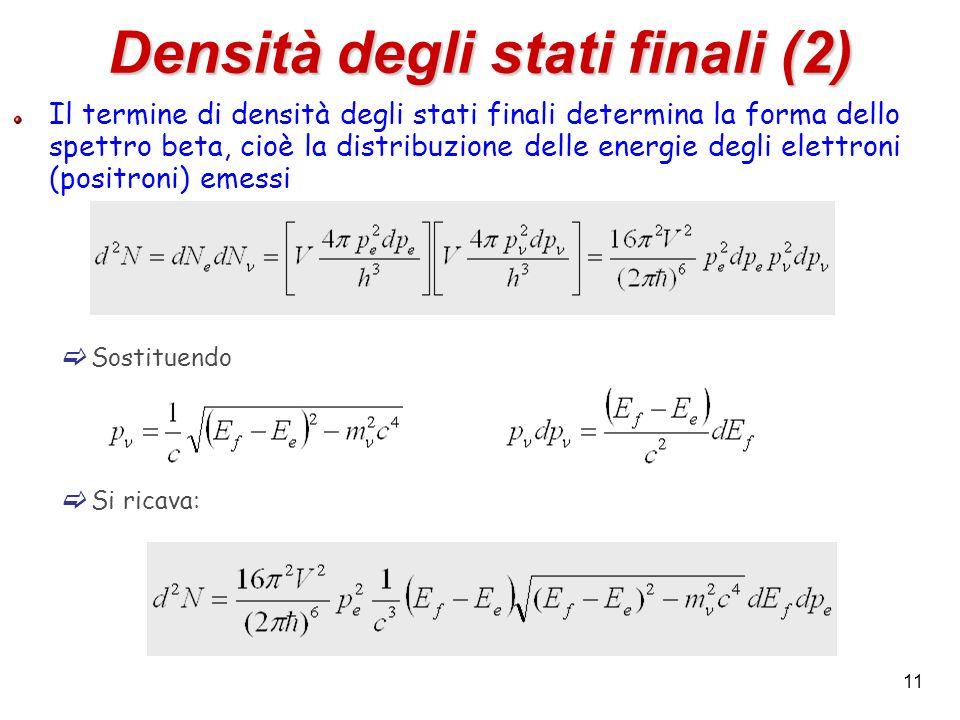 11 Densità degli stati finali (2) Il termine di densità degli stati finali determina la forma dello spettro beta, cioè la distribuzione delle energie