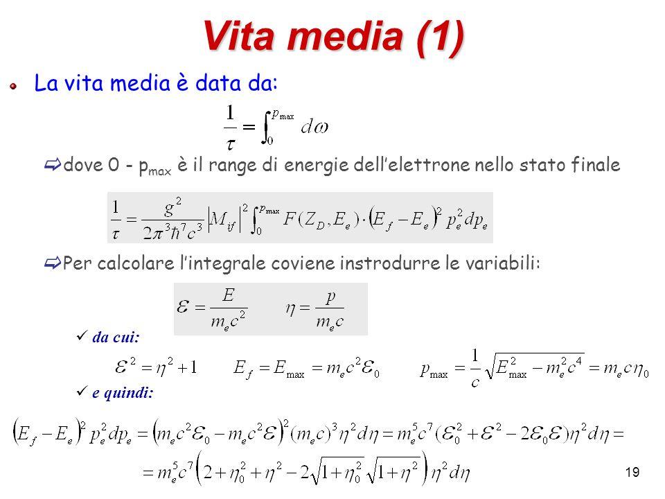 19 Vita media (1) La vita media è data da: dove 0 - p max è il range di energie dellelettrone nello stato finale Per calcolare lintegrale coviene inst