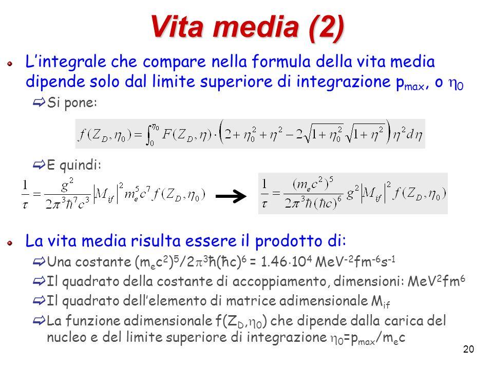 20 Vita media (2) Lintegrale che compare nella formula della vita media dipende solo dal limite superiore di integrazione p max, o 0 Si pone: E quindi