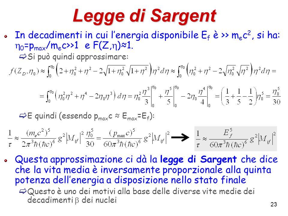 23 Legge di Sargent In decadimenti in cui lenergia disponibile E f è >> m e c 2, si ha: 0 =p max /m e c>>1 e F(Z, )1. Si può quindi approssimare: E qu