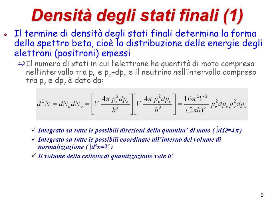 9 Densità degli stati finali (1) Il termine di densità degli stati finali determina la forma dello spettro beta, cioè la distribuzione delle energie d