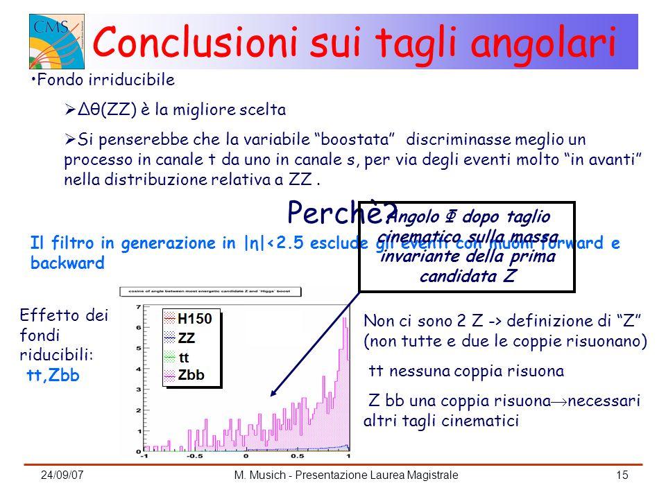 24/09/07M. Musich - Presentazione Laurea Magistrale15 Conclusioni sui tagli angolari Fondo irriducibile Δθ(ZZ) è la migliore scelta Si penserebbe che