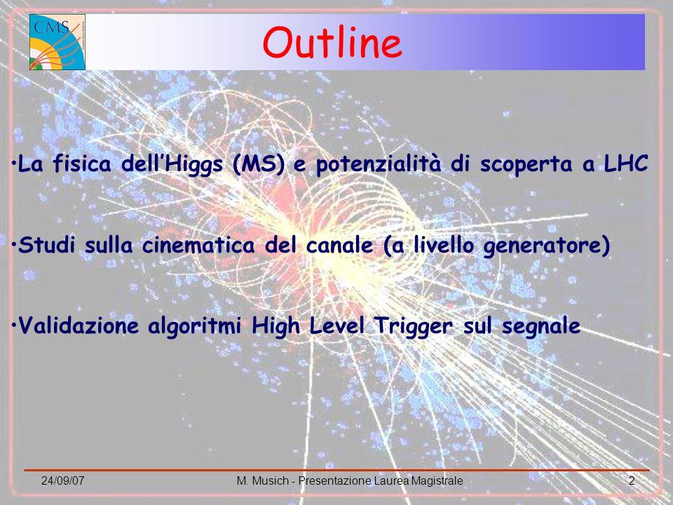 24/09/07M. Musich - Presentazione Laurea Magistrale2 Outline La fisica dellHiggs (MS) e potenzialità di scoperta a LHC Studi sulla cinematica del cana