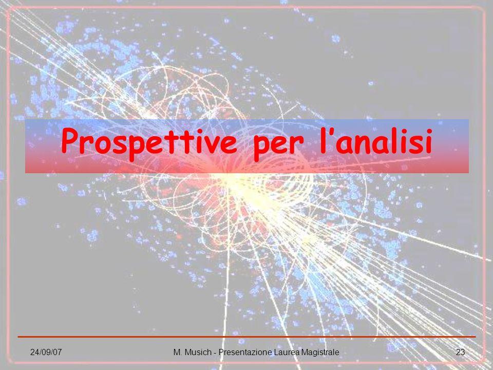 24/09/07M. Musich - Presentazione Laurea Magistrale23 Prospettive per lanalisi