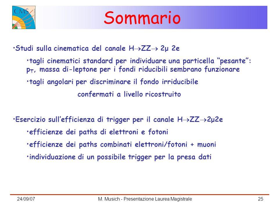 24/09/07M. Musich - Presentazione Laurea Magistrale25 Sommario Studi sulla cinematica del canale H ZZ 2μ 2e tagli cinematici standard per individuare