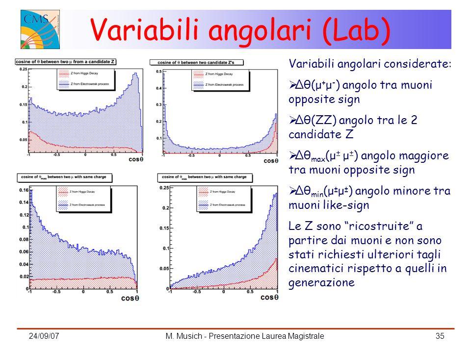 24/09/07M. Musich - Presentazione Laurea Magistrale35 Variabili angolari (Lab) Variabili angolari considerate: Δθ(μ + μ - ) angolo tra muoni opposite