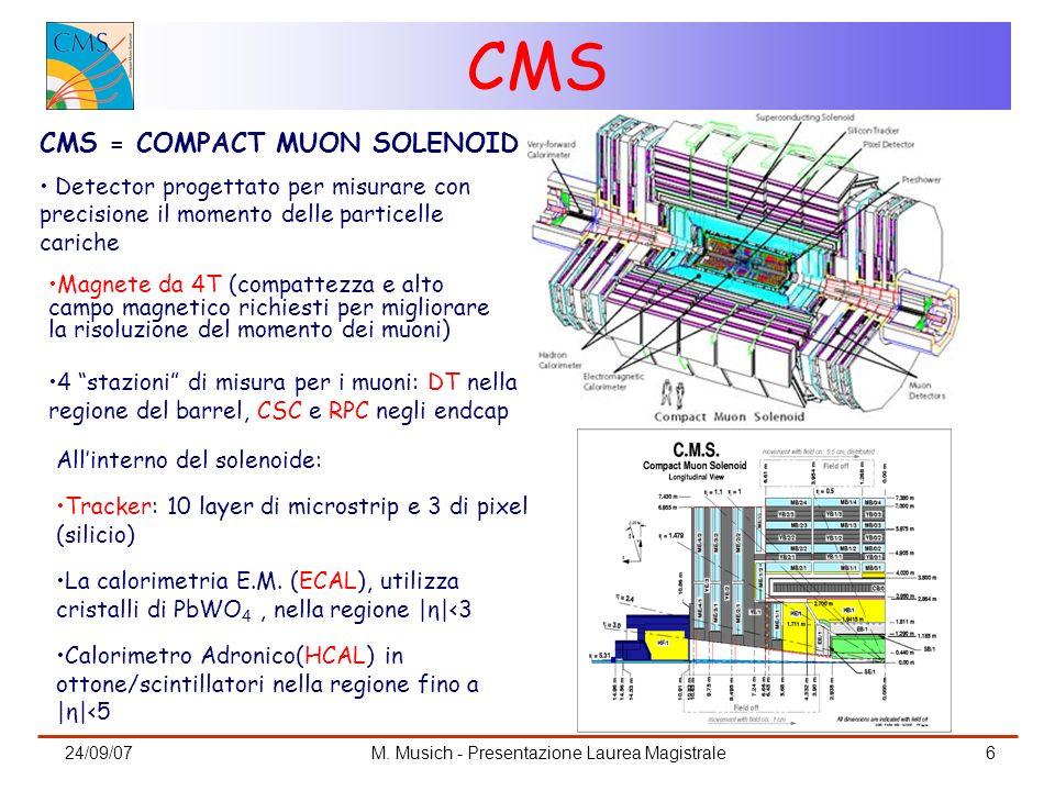 24/09/07M. Musich - Presentazione Laurea Magistrale6 CMS CMS = COMPACT MUON SOLENOID Detector progettato per misurare con precisione il momento delle