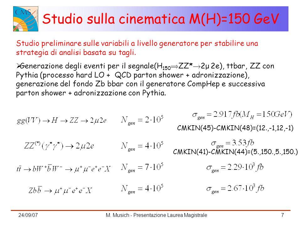 24/09/07M. Musich - Presentazione Laurea Magistrale7 Studio preliminare sulle variabili a livello generatore per stabilire una strategia di analisi ba