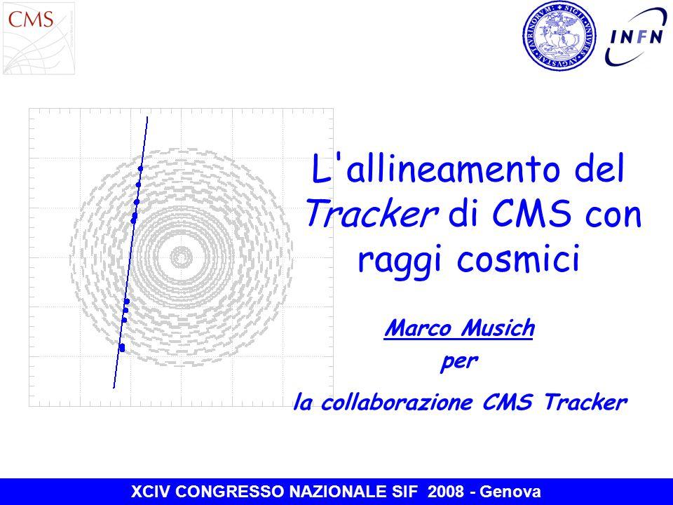 L allineamento del Tracker di CMS con raggi cosmici Marco Musich per la collaborazione CMS Tracker XCIV CONGRESSO NAZIONALE SIF 2008 - Genova