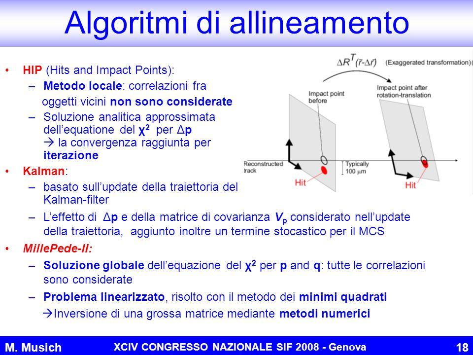 M. Musich XCIV CONGRESSO NAZIONALE SIF 2008 - Genova 18 Algoritmi di allineamento HIP (Hits and Impact Points): –Metodo locale: correlazioni fra ogget