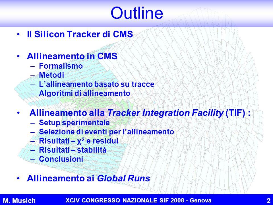 M. Musich XCIV CONGRESSO NAZIONALE SIF 2008 - Genova 2 Outline Il Silicon Tracker di CMS Allineamento in CMS –Formalismo –Metodi –Lallineamento basato