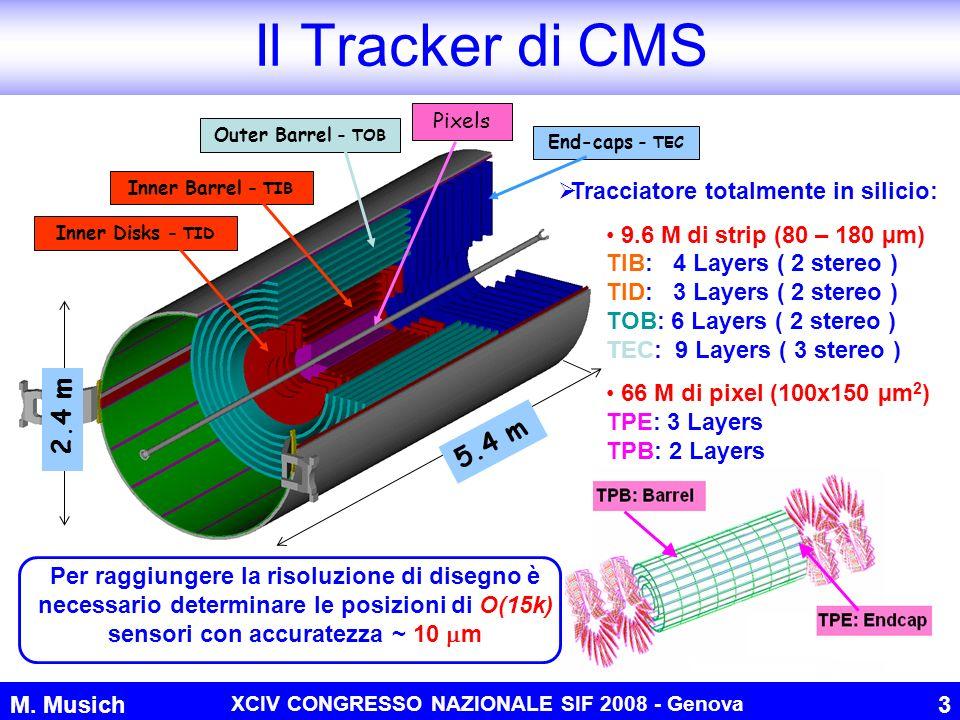 M. Musich XCIV CONGRESSO NAZIONALE SIF 2008 - Genova 3 Il Tracker di CMS Tracciatore totalmente in silicio: 9.6 M di strip (80 – 180 µm) TIB: 4 Layers