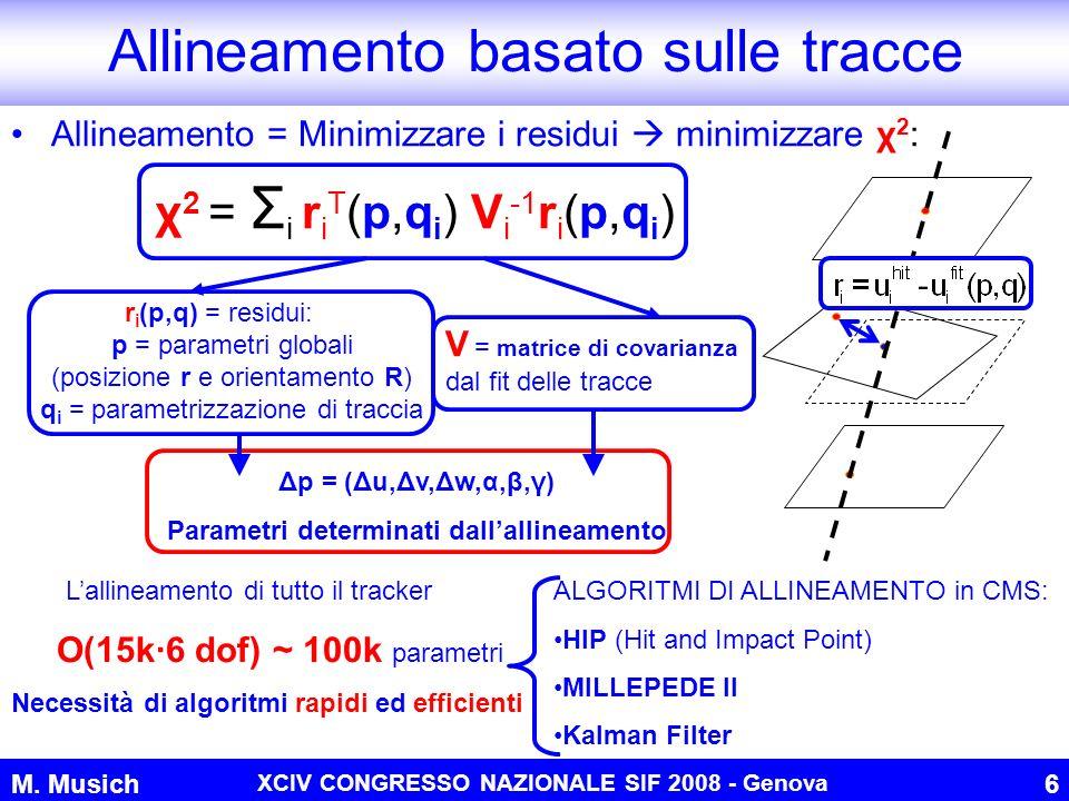 M. Musich XCIV CONGRESSO NAZIONALE SIF 2008 - Genova 6 Allineamento = Minimizzare i residui minimizzare χ 2 : Allineamento basato sulle tracce χ 2 = Σ