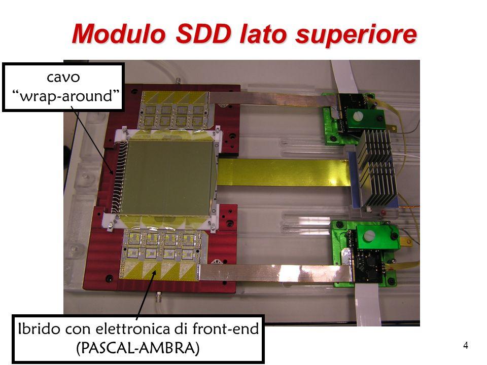 35 Minimo valore di E Il campo elettrico (e quindi lalta tensione HV) deve essere sufficientemente alto da consentire di raccogliere la carica in un tempo minore i 6.4 s Massimo percorso di deriva = 3.5 cm Minima velocità di deriva = 3.5/6.4 = 0.547 cm/ s = 5.47 m/ns Mobilità degli e - a 20°C: e = 1350 cm 2 s -1 V -1 E MIN = v min / e = 0.547 10 6 / 1350 = 405 V/cm V cat = 4.86 V Si potrebbe quindi usare la SDD polarizzata a MV = 45, e HV = 1460 V ma… La mobilità diminuisce al crescere della temperatura, quindi lavorando a temperature superiori a 20°C i tempi di deriva supererebbero il limite massimo di 6.4 s