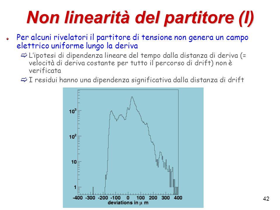 42 Non linearità del partitore (I) Per alcuni rivelatori il partitore di tensione non genera un campo elettrico uniforme lungo la deriva Lipotesi di d