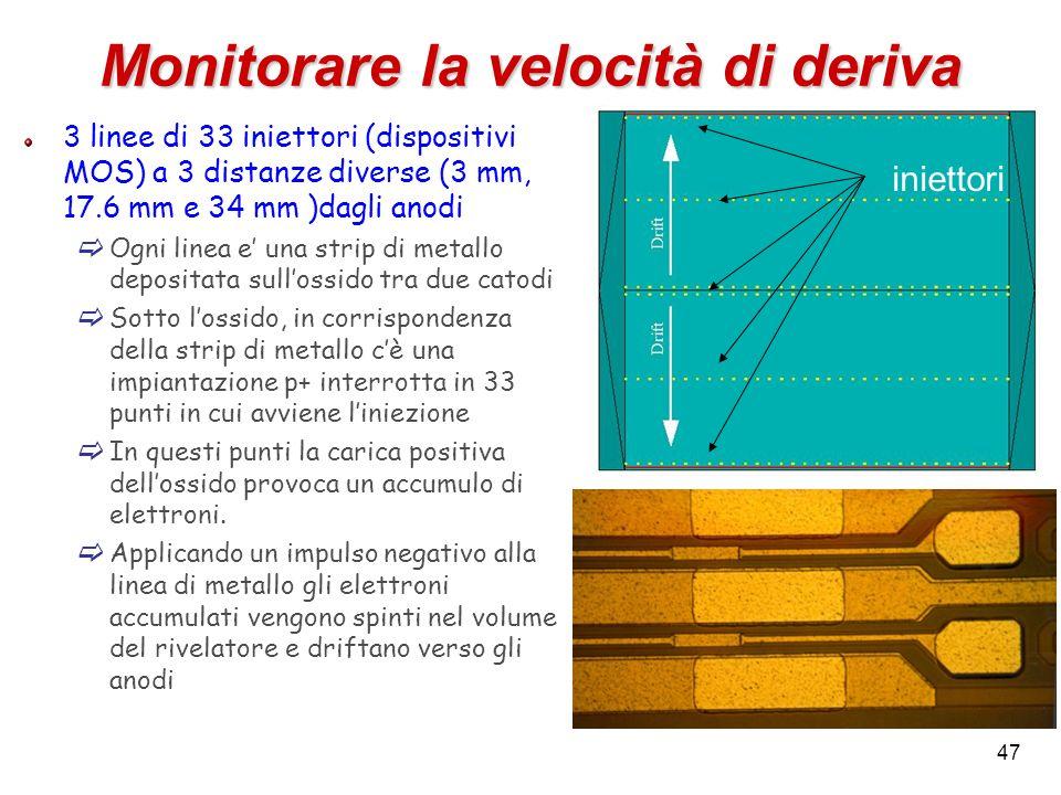47 Monitorare la velocità di deriva 3 linee di 33 iniettori (dispositivi MOS) a 3 distanze diverse (3 mm, 17.6 mm e 34 mm )dagli anodi Ogni linea e un