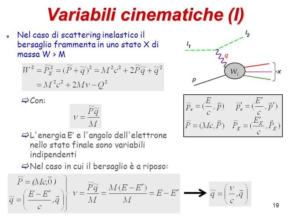 19 Variabili cinematiche (I) Nel caso di scattering inelastico il bersaglio frammenta in uno stato X di massa W > M Con: L'energia E e l'angolo dell'e