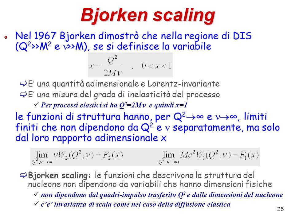 25 Bjorken scaling Nel 1967 Bjorken dimostrò che nella regione di DIS (Q 2 >>M 2 e >>M), se si definisce la variabile E una quantità adimensionale e L
