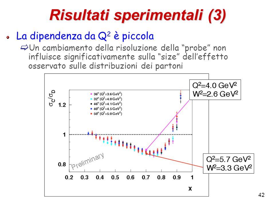 Risultati sperimentali (3) La dipendenza da Q 2 è piccola Un cambiamento della risoluzione della probe non influisce significativamente sulla size del