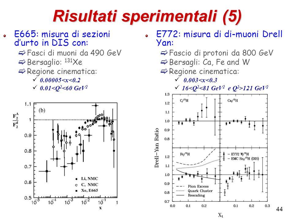 Risultati sperimentali (5) E772: misura di di-muoni Drell Yan: Fascio di protoni da 800 GeV Bersagli: Ca, Fe and W Regione cinematica: 0.003<x<0.3 16