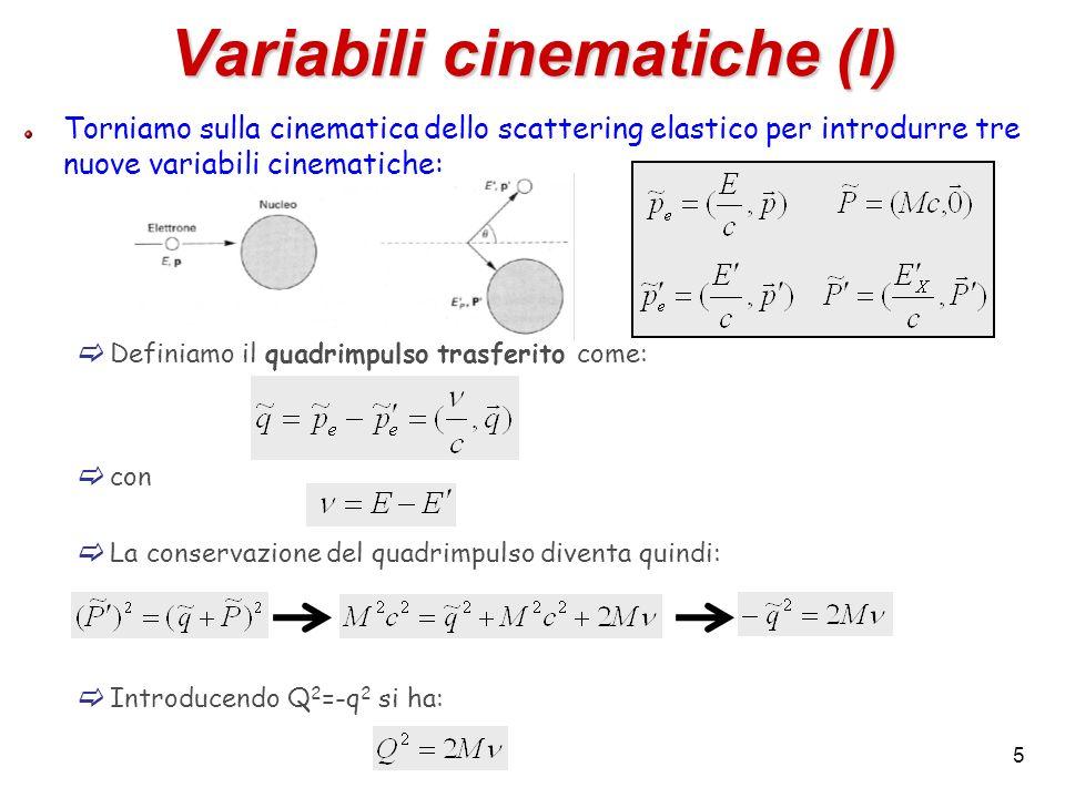 5 Variabili cinematiche (I) Torniamo sulla cinematica dello scattering elastico per introdurre tre nuove variabili cinematiche: Definiamo il quadrimpu
