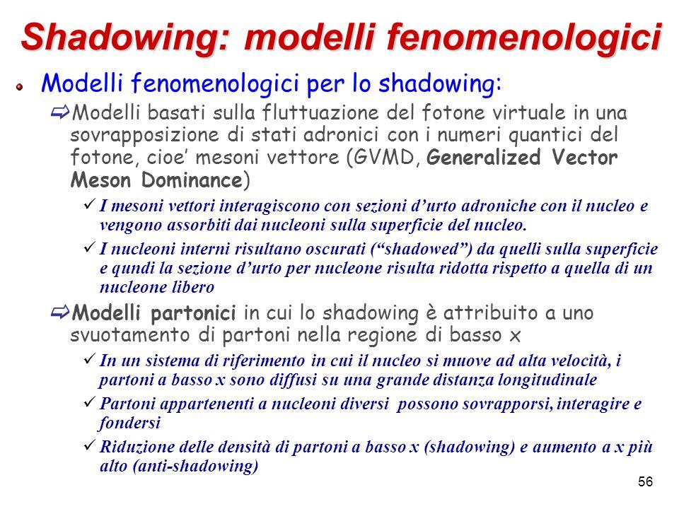 Shadowing: modelli fenomenologici Modelli fenomenologici per lo shadowing: Modelli basati sulla fluttuazione del fotone virtuale in una sovrapposizion