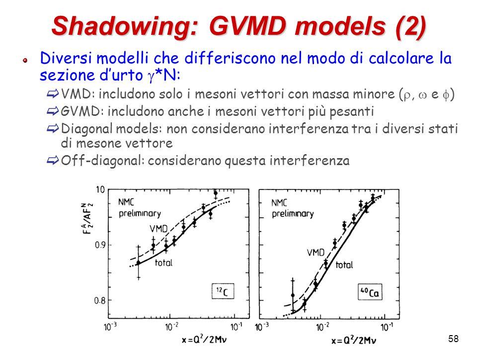 Shadowing: GVMD models (2) Diversi modelli che differiscono nel modo di calcolare la sezione durto *N: VMD: includono solo i mesoni vettori con massa