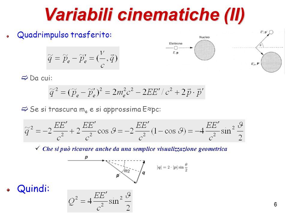 6 Variabili cinematiche (II) Quadrimpulso trasferito: Da cui: Se si trascura m e e si approssima Epc: Che si può ricavare anche da una semplice visual