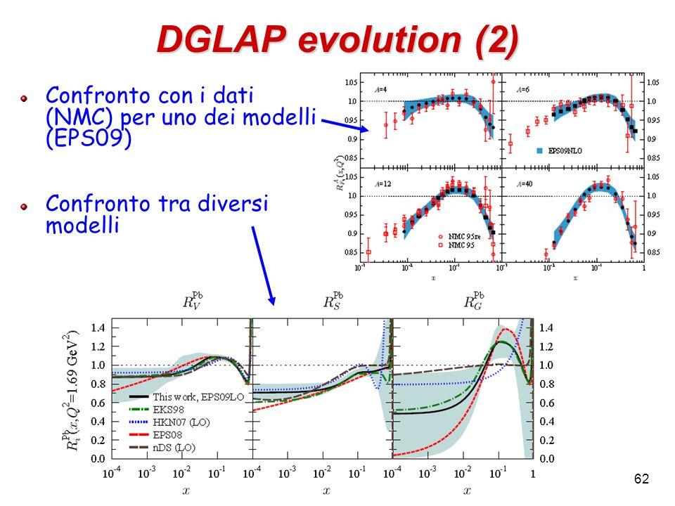 DGLAP evolution (2) Confronto con i dati (NMC) per uno dei modelli (EPS09) Confronto tra diversi modelli 62