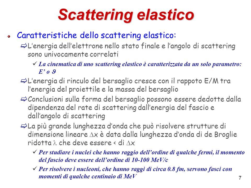 7 Scattering elastico Caratteristiche dello scattering elastico: Lenergia dellelettrone nello stato finale e langolo di scattering sono univocamente c