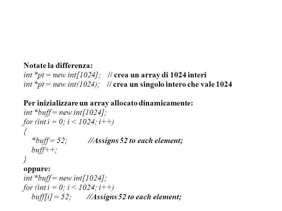 Notate la differenza: int *pt = new int[1024]; // crea un array di 1024 interi int *pt = new int(1024); // crea un singolo intero che vale 1024 Per in
