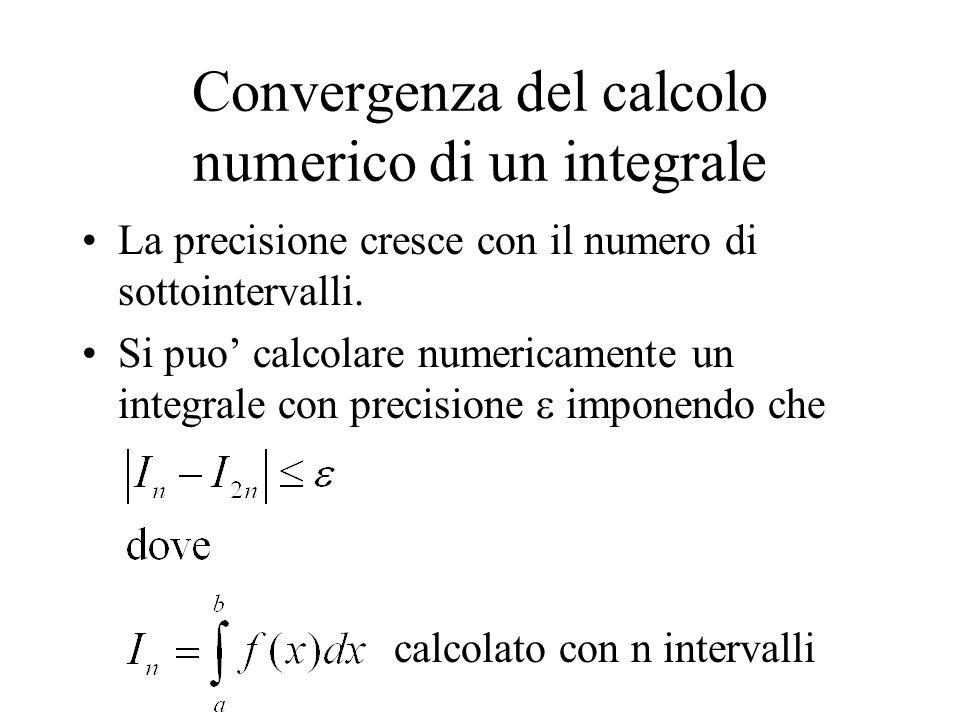 Convergenza del calcolo numerico di un integrale La precisione cresce con il numero di sottointervalli. Si puo calcolare numericamente un integrale co