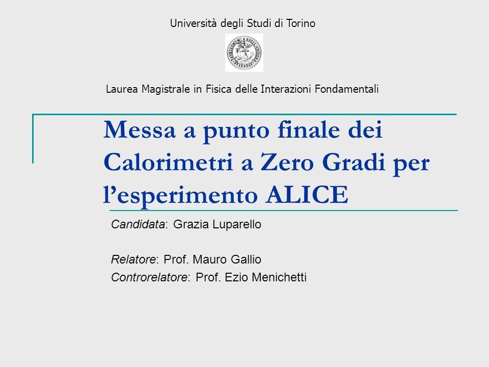Messa a punto finale dei Calorimetri a Zero Gradi per lesperimento ALICE Candidata: Grazia Luparello Relatore: Prof. Mauro Gallio Controrelatore: Prof