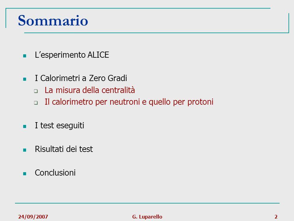 24/09/2007G. Luparello2 Sommario Lesperimento ALICE I Calorimetri a Zero Gradi La misura della centralità Il calorimetro per neutroni e quello per pro