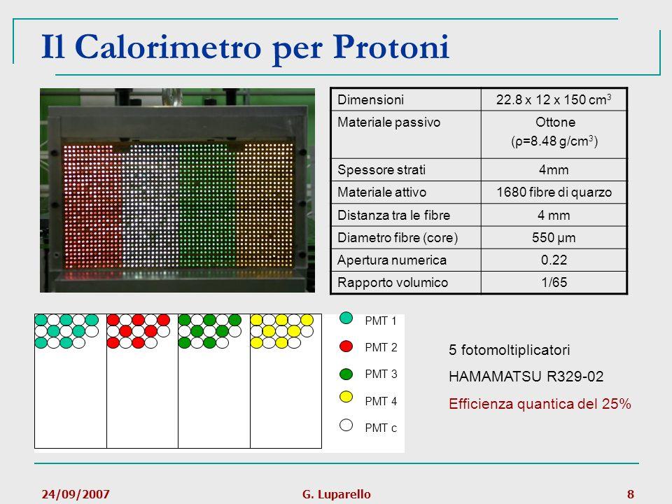 24/09/2007G. Luparello8 Il Calorimetro per Protoni PMT 1 PMT 2 PMT 3 PMT 4 PMT c Dimensioni22.8 x 12 x 150 cm 3 Materiale passivo Ottone (ρ=8.48 g/cm