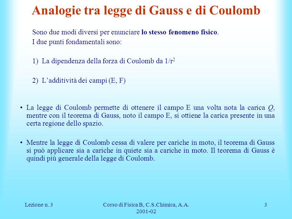 Lezione n. 3Corso di Fisica B, C.S.Chimica, A.A. 2001-02 3 Analogie tra legge di Gauss e di Coulomb Sono due modi diversi per enunciare lo stesso feno