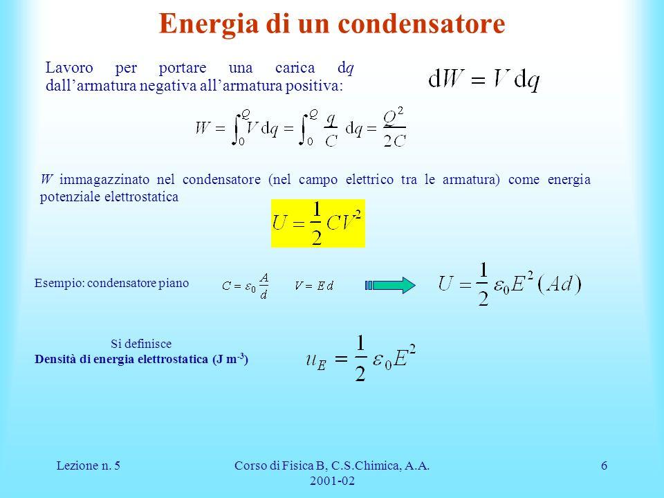 Lezione n. 5Corso di Fisica B, C.S.Chimica, A.A. 2001-02 6 Energia di un condensatore Lavoro per portare una carica dq dallarmatura negativa allarmatu