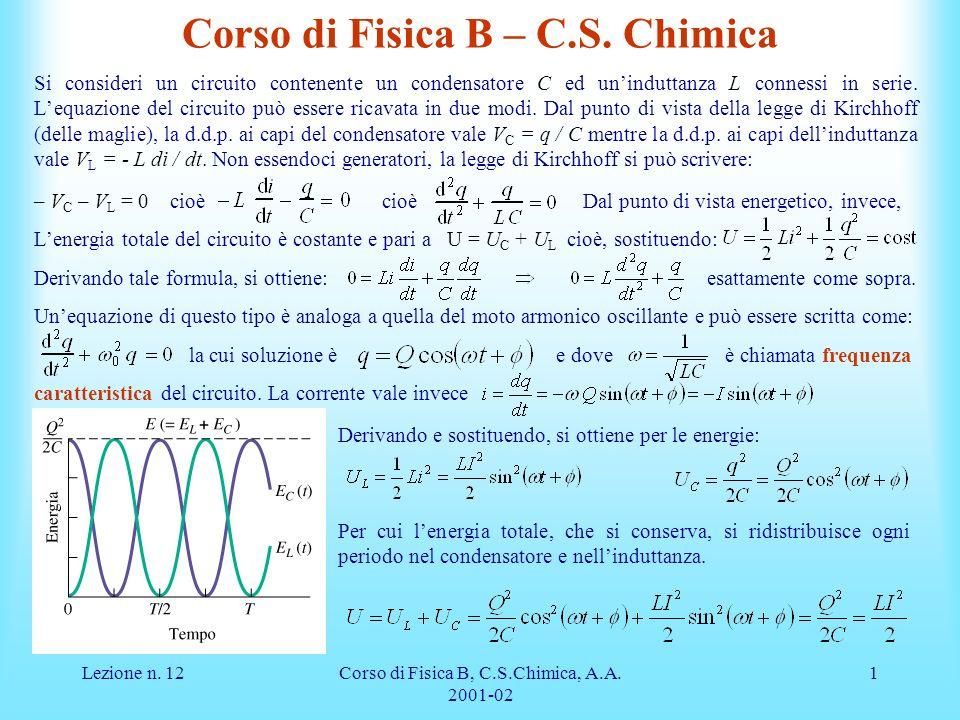 Lezione n.12Corso di Fisica B, C.S.Chimica, A.A. 2001-02 1 Corso di Fisica B – C.S.