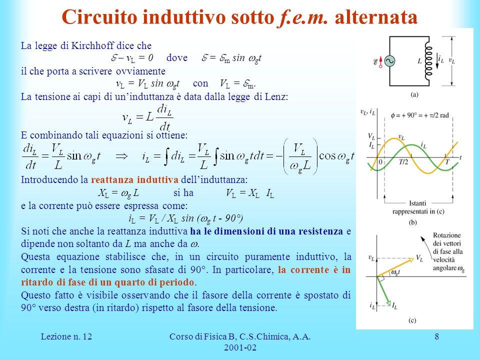 Lezione n.12Corso di Fisica B, C.S.Chimica, A.A. 2001-02 8 Circuito induttivo sotto f.e.m.