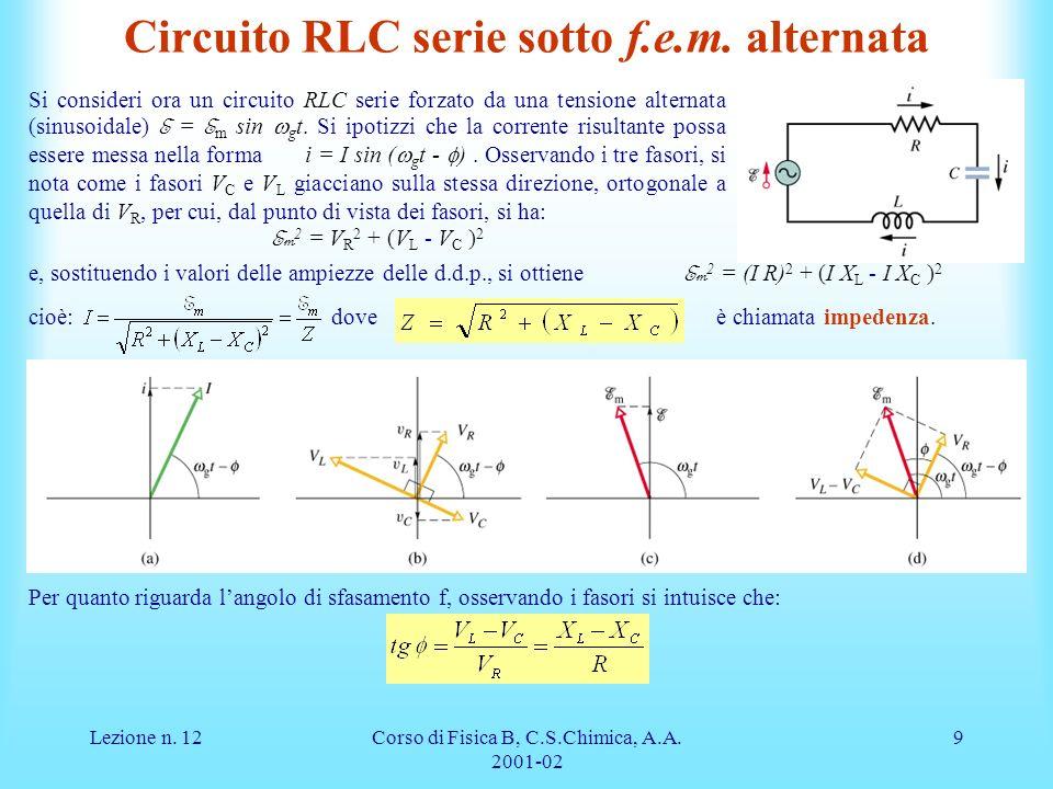 Lezione n.12Corso di Fisica B, C.S.Chimica, A.A.