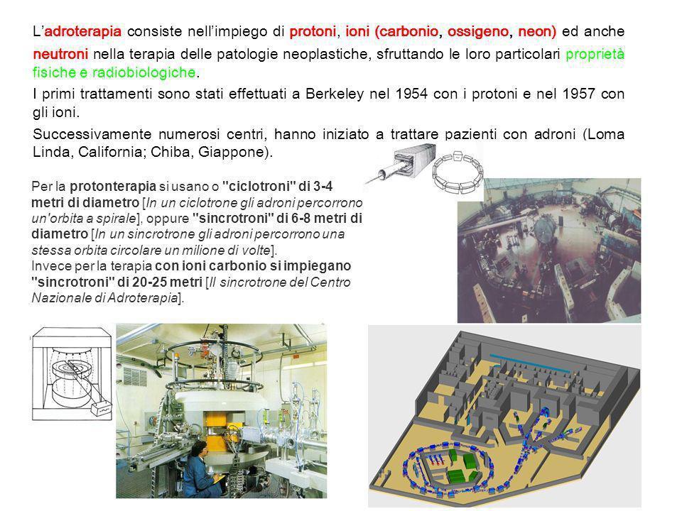 Ladroterapia consiste nellimpiego di protoni, ioni (carbonio, ossigeno, neon) ed anche neutroni nella terapia delle patologie neoplastiche, sfruttando