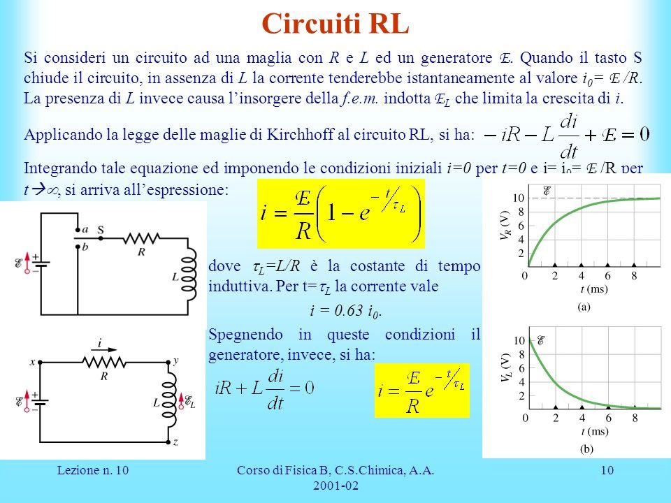 Lezione n. 10Corso di Fisica B, C.S.Chimica, A.A. 2001-02 10 Circuiti RL Si consideri un circuito ad una maglia con R e L ed un generatore E. Quando i