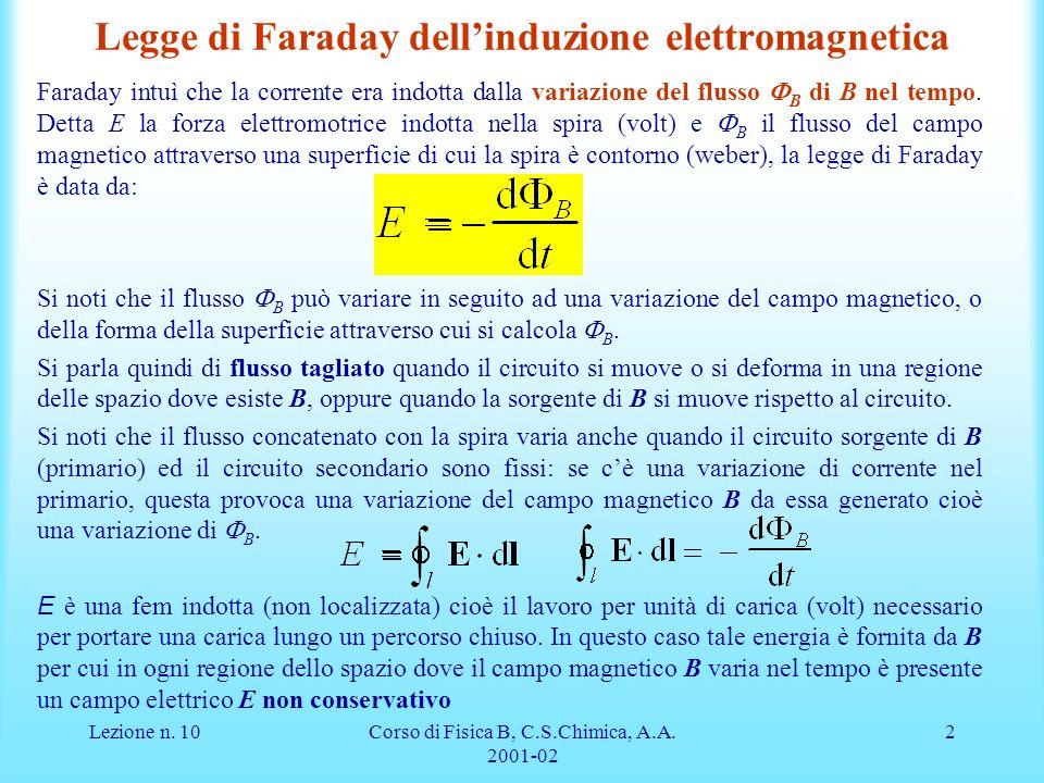 Lezione n. 10Corso di Fisica B, C.S.Chimica, A.A. 2001-02 2 Legge di Faraday dellinduzione elettromagnetica Faraday intuì che la corrente era indotta